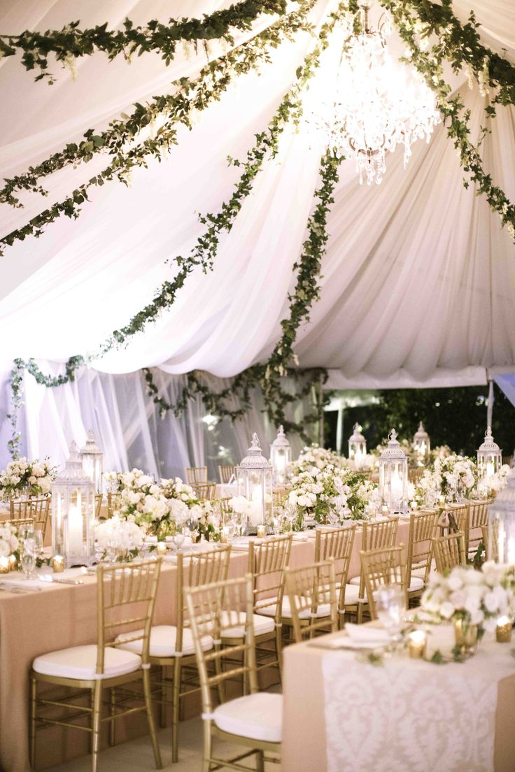 Stunning tent and decor (Erin Fetherston's wedding reception)