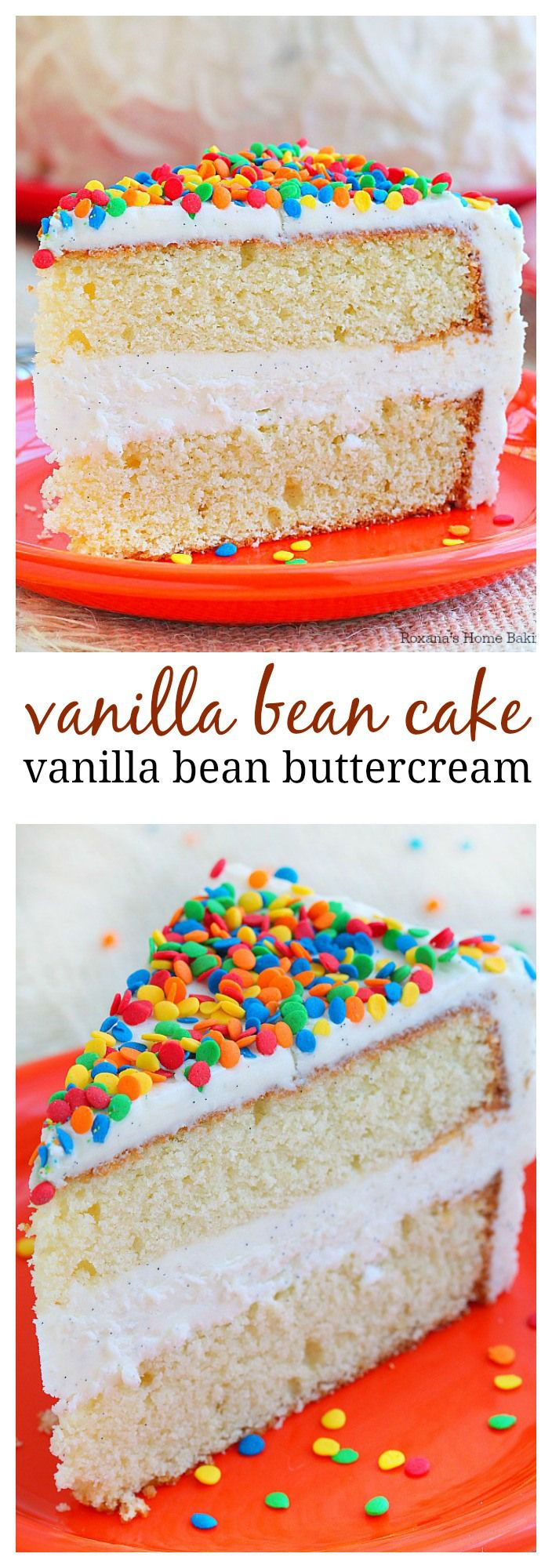 Everyone deserves a special treat on their birthday and this over-the-top vanilla bean cake topped with piles of fluffy vanilla bean frosting and colorful sprinkles makes your day extra special!