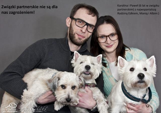 Civil partnerships are not a threat to us! Karolina & Paweł (together for 6 years) with pets: Edek, Mania and Albi