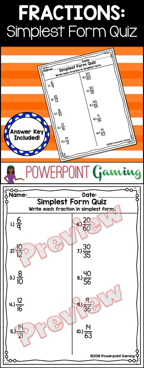 Assessment student learning with this simplest form quiz. In this 10 question test, students must simplify fractions. Questions range is from 70ths and below with answer ranging up to 8ths. Great for a quick morning review or assessment activity . Extra licenses are $0.50.