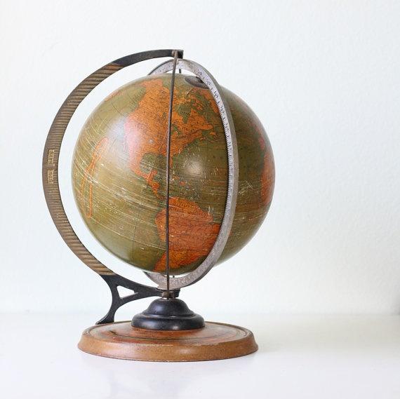 Vintage Cram's Globe, with Daily Sun Ray and Season Indicator