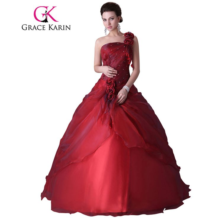 Grace Karin One Shoulder Ball Gown Dress For 15 Years Party Cheap Red Quinceanera Dress Sweet 16 Ball Gowns Quinceanera Dress #Affiliate