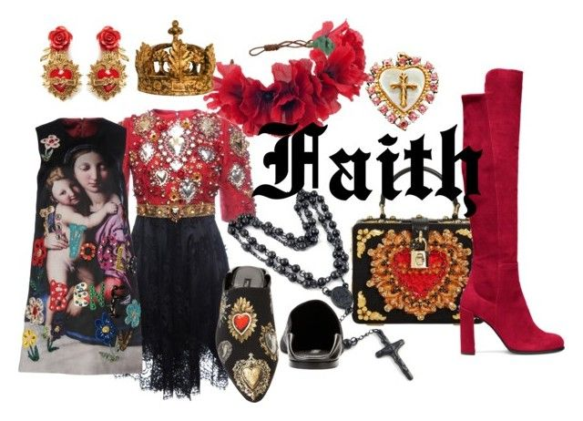 Faith by illetilmote on Polyvore featuring Dolce&Gabbana, Stuart Weitzman, Rock 'N Rose and Restoration Hardware