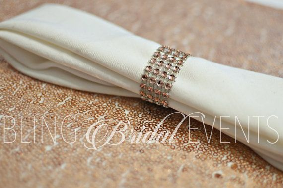 Bling Rose Gold Napkin Rings! Perfect accent to bling out your tables! These are velcro clasped napkin rings that are approx: L 1 x 4.5 Perfect for standard size napkin rings 16x16- 20x20. These are made to order and Final Sale.  Matching Sequin Runners: https://www.etsy.com/listing/385176842/rose-gold-table-runners