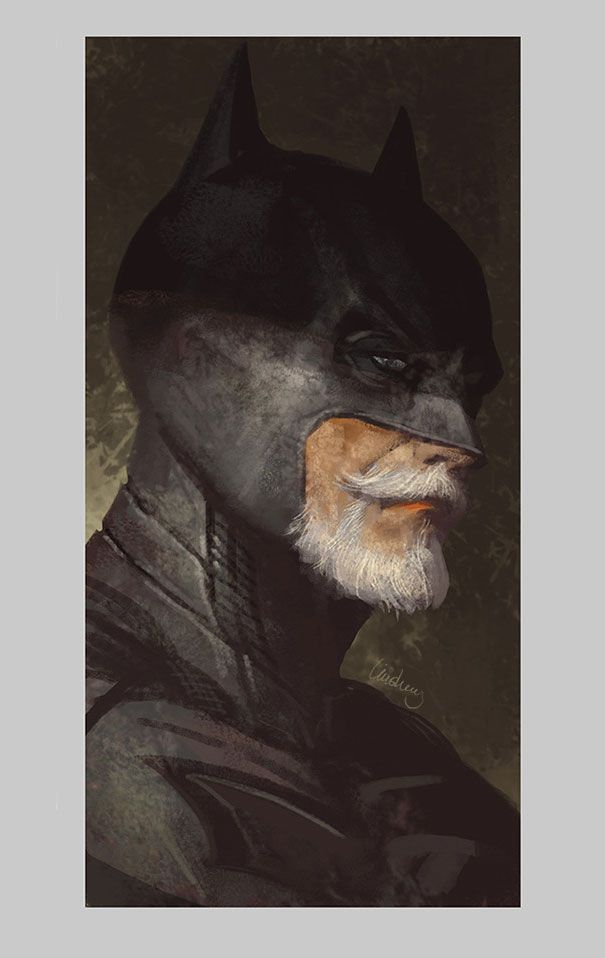 Superhéroes ancianos realizados por el artista chino Eddie Liu: Batman, Wonder Woman, Flash y Superman