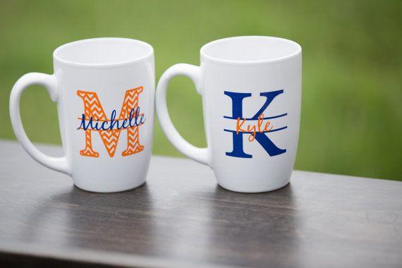 Chevron monogram mugs. Custom coffee mugs by Giftability on Etsy