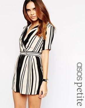 Enlarge ASOS PETITE Playsuit in Stripe with Wrap Front