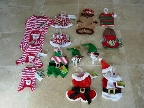New Pet Dog Christmas Costumes Mrs Claus Santa Elf Rudolph Snowflake Dress | eBay  $4 each