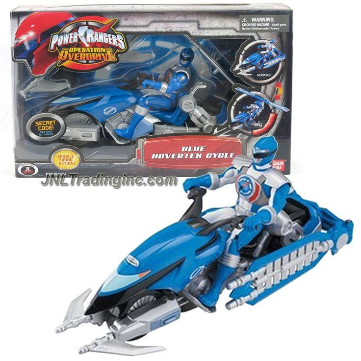 "Bandai Power Rangers Operation Overdrive Series 8-1/2"" Long Vehicle Set - BLUE HOVERTEK CYCLE that Morphs to Chopper Plus Blue Power Ranger Figure"