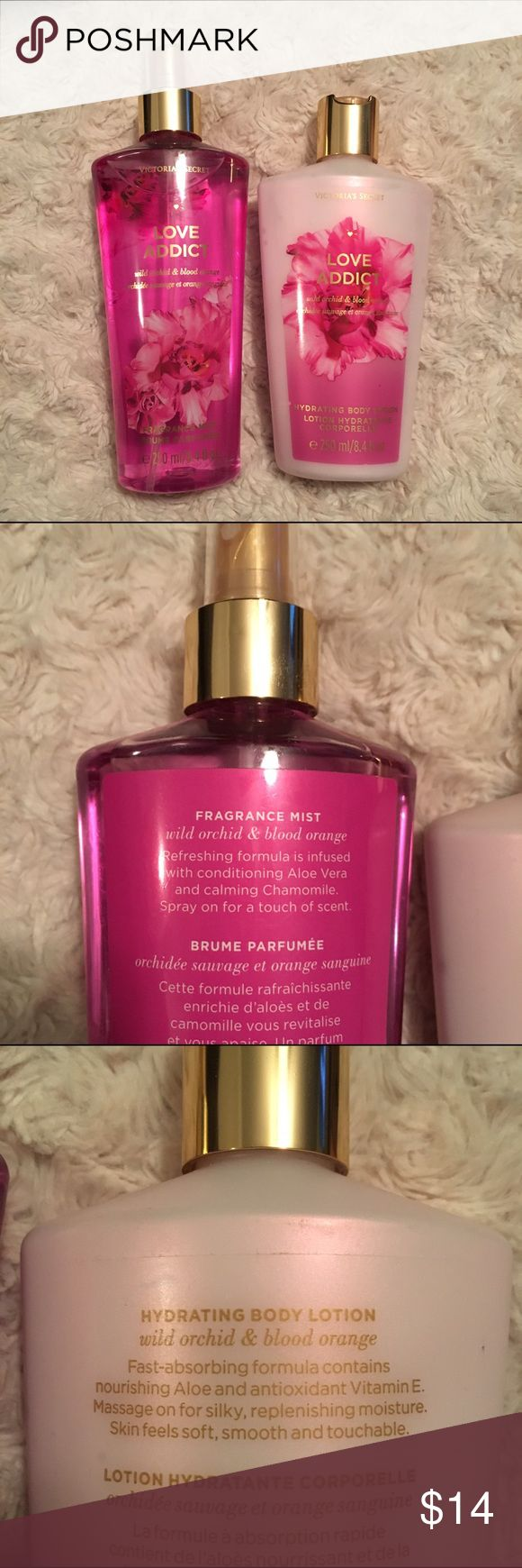 Victorias Secret Love Addict body spray and lotion VS Love Addict body spray and lotion. Both never used. Notes in the scent are wild orchid and blood orange. Victoria's Secret Makeup