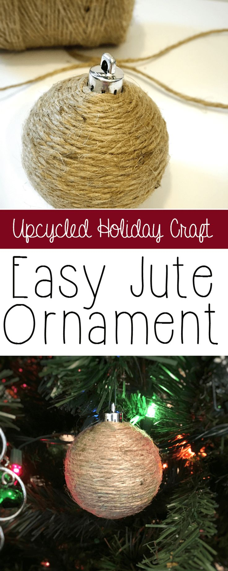 These upcycled ornaments are simple and so inexpensive. Revamp your Christmas decor with beautiful, rustic homemade jute ornaments - a great craft to reuse old ornaments.   thecrunchychronicles.com via @thecrunchychron