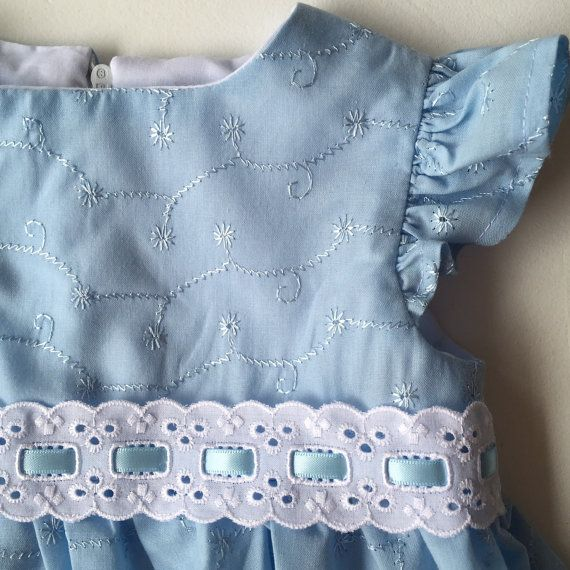 Blue Embroidered Baby Girl Dress with matching by SpirwellSewing