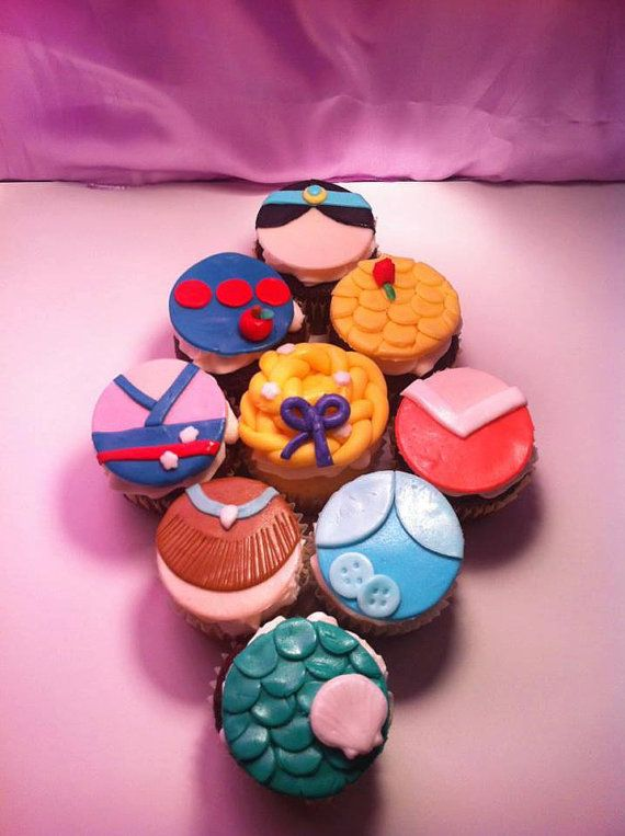 Disney Princess cupcake toppers on Etsy, $10.00