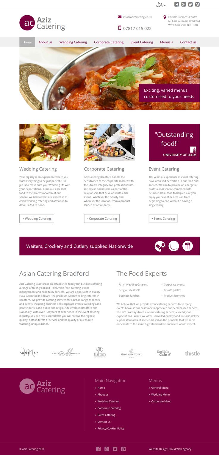 A departure from a typical website for such a business (catering).  Using a small colour palette and plenty of white space to create an informative and welcoming website.  Complemented by a matching mobile site.  http://azizcatering.co.uk/