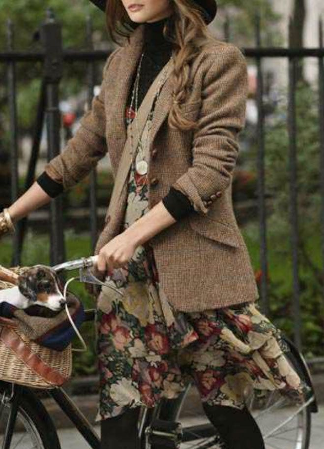 Floral dress + turtleneck sweater + tweed jacket + hat + tights + sensible shoes = lovely but comfy!                                                                                                                                                     More