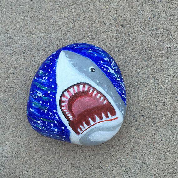 Shark Painted Rock Shark Art Shark Painting 3D Painting