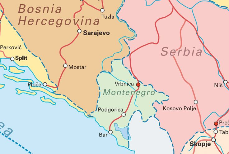 rail map of Montenegro