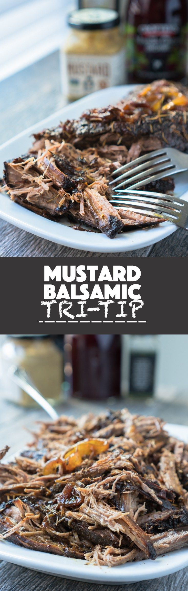Mustard Balsamic Tri-Tip – Healthy recipe for slow-cooker Mustard Balsamic Tri-Tip! Uses balsamic vinegar, spicy brown mustard, cherry jam, olive oil, rosemary, shallots, and garlic. We love that this recipe is gluten-free & only takes a few minutes to prep! ♥ | freeyourfork.com