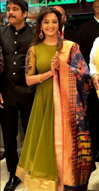 Manju warrier in ethinic green bridals. costume by pranaah