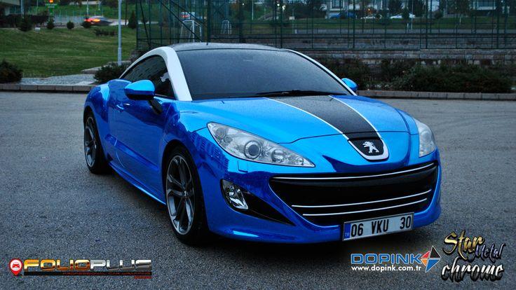 peugeot rcz   blue chrome — folioplus   exclusive car wrapping