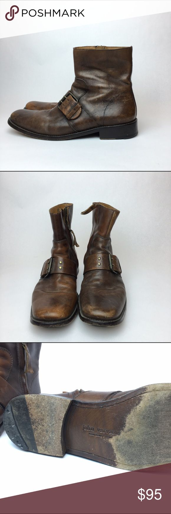 John Varartos tan leather boots 8.5 Good condition. All leather boot. Side zipper empty. Leather has a distressed design John Varvatos Shoes Boots