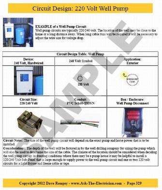 circuit design 220 volt well pump