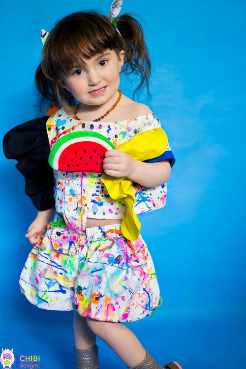 """NEW from Sew Chibi Designs,The Zou Playset PDF sewing pattern featuring a color-blocked crop top w/ TONS of options AND super puffy """"bubble"""" culottes w/ snap-on tail and ties.Perfect for summer!"""