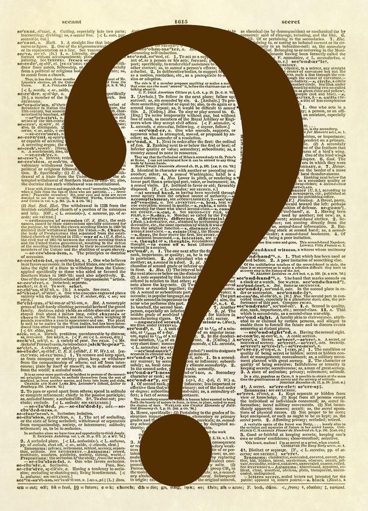 Question Mark Symbol Dictionary Art Print
