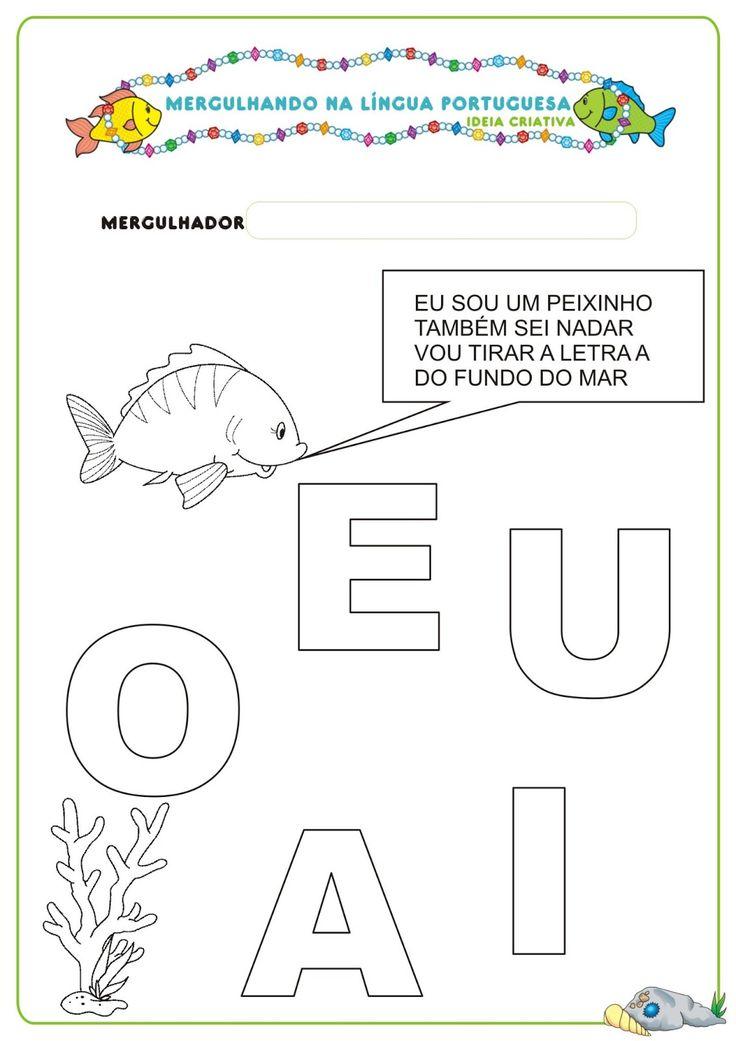 Caderno de Atividades Língua Portuguesa Projeto no Fundo do Mar grátis para imprimir   Ideia Criativa - Gi Barbosa Educação Infantil