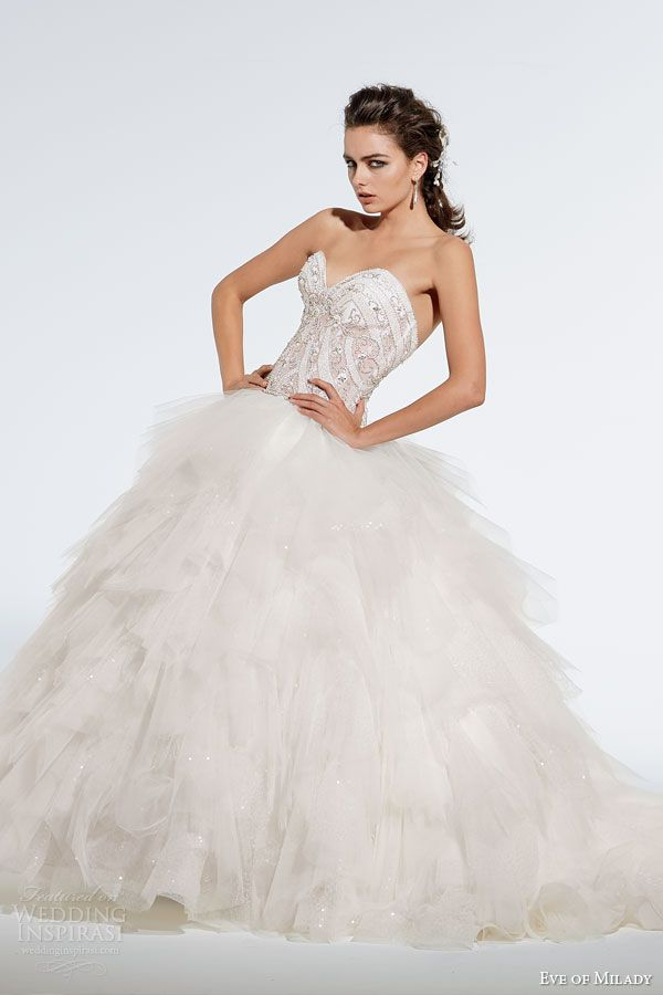 eve of milady fall 2014 2015 strapless ball gown wedding dress ruffle skirt style 1538