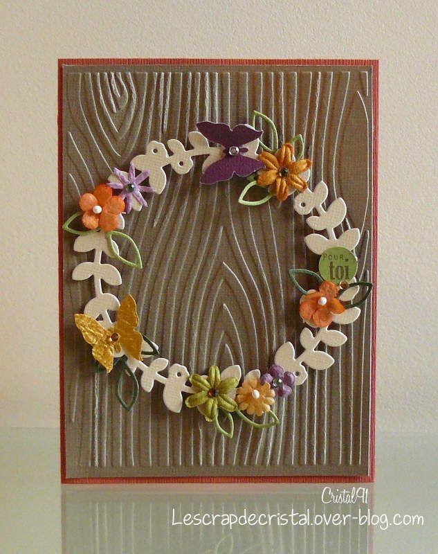 J'ai fait une carte pour le défi 281 du Créablablablog. Il fallait s'inspirer de cette image: J'ai conservé le fond bois avec de l'embossage à froid et la couronne, découpe Kesi'Art sur laquelle j'ai disposé fleurs, feuilles et papillons, ce qui donne...