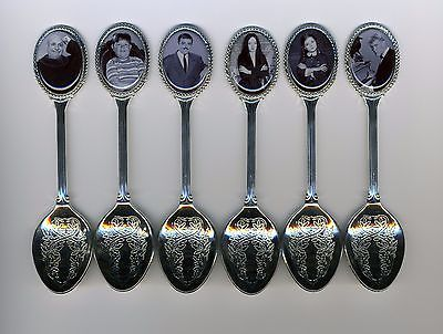 Six Silver Plated Spoons Featuring Addams Family Members