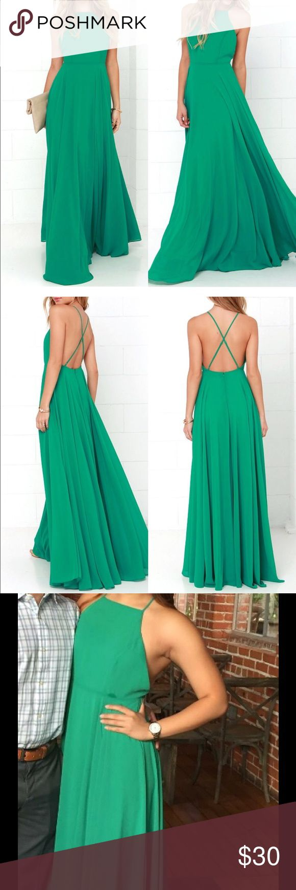 "Green Maxi Dress (Lulu's) MYTHICAL KIND OF LOVE GREEN MAXI DRESS, such a beautiful green color, worn once for a wedding, already dry cleaned and ready to ship! This dress comes very long-- I got it hemmed. I'm about 5'5"" and wore 3inch heels and it was the perfect length. Lulu's Dresses Maxi"