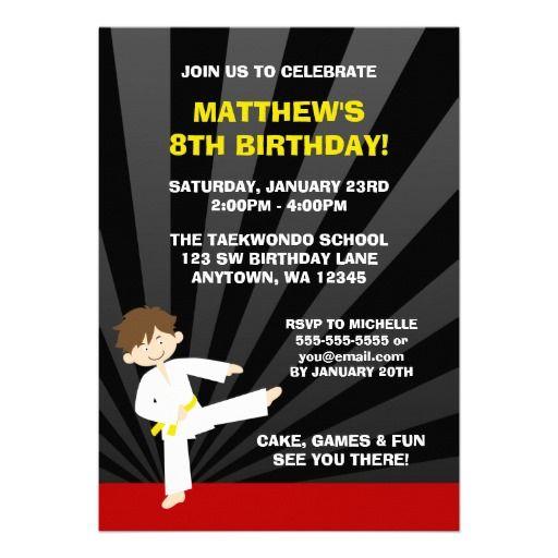 21 mejores imgenes de do it yourself invitations en pinterest taekwondo karate yellow belt birthday invitations solutioingenieria Gallery