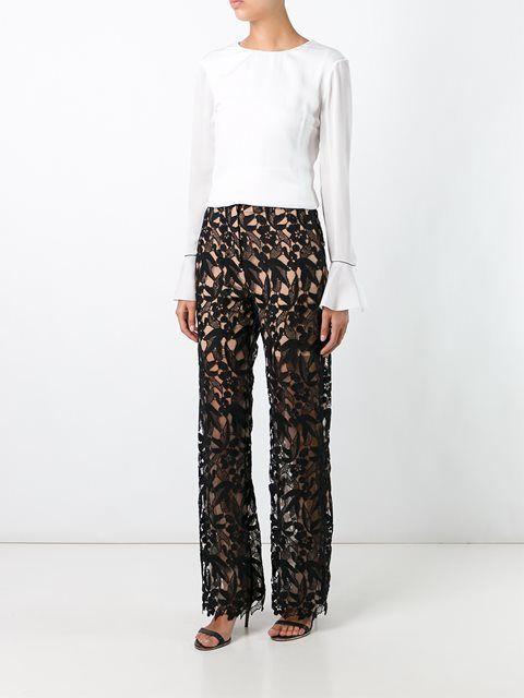 Self-Portrait брюки с цветочным принтом
