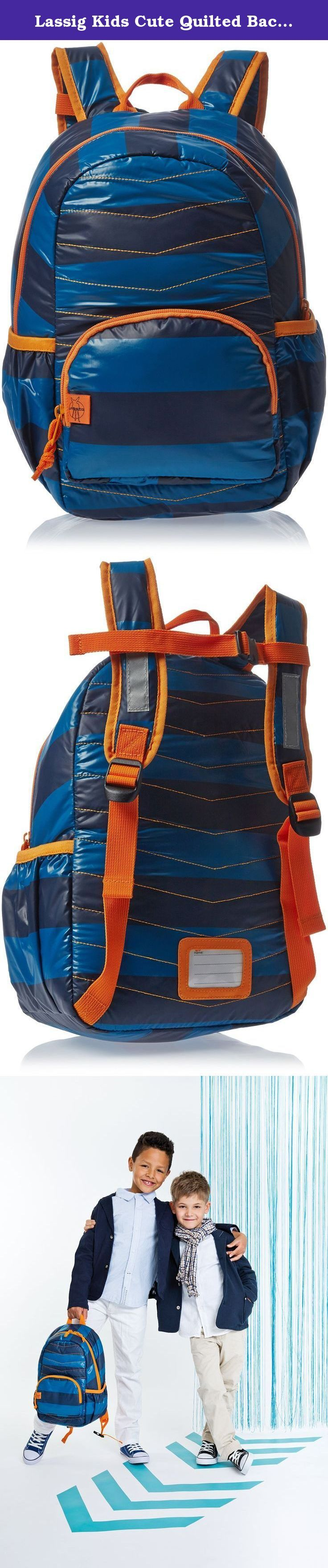 """Lassig Kids Cute Quilted Backpack Big Pre-School Kindergarten Bag with chest strap, name badge and drink Bottle Holder, Striped Petrol/Blue. The appearance of the three children's backpacks from the """"Quilted"""" Line is definitely not low-key. Loud colors, eye-catching contrastive seams and cool patterns make them a must-have accessory for all little trendsetters. They are made of polyester and are extremely light weight."""