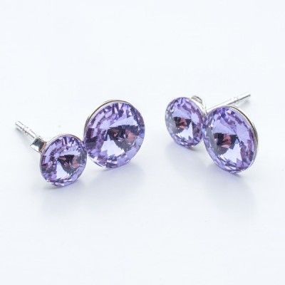 Swarovski Rivoli Earrings 6/8mm Violet  Dimensions: length:1,5cm stone size: 6mm and 8mm Weight ~ 1,60g ( 1 pair ) Metal : sterling silver ( AG-925) Stones: Swarovski Elements 1122 SS29 ( 6mm ) and SS39 ( 8mm )  Colour: Violet 1 package = 1 pair