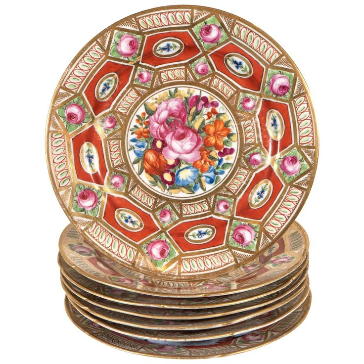 """Set of a Dozen Coalport Dishes in the Red """"Church Gresley"""" Pattern   See more antique and modern Dinner Plates at https://www.1stdibs.com/furniture/dining-entertaining/dinner-plates"""