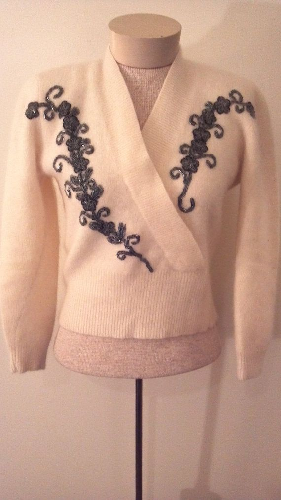 ANGORA AND LAMBSWOOLBeaded Sweater by BibandTuckerVintage on Etsy, $72.00