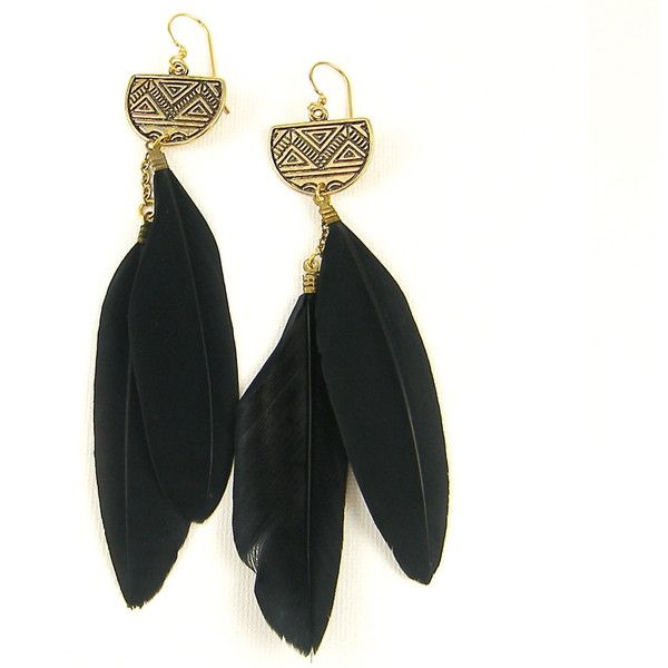 Long Black Feather Earrings, Hippie Feather Earrings, Black Feather... ($20) ❤ liked on Polyvore featuring jewelry, earrings, tribal earrings, hook earrings, boho earrings, long gold earrings and bohemian earrings