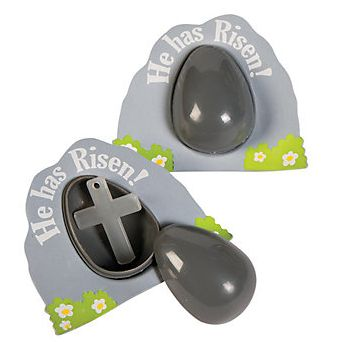 """Religious """"Empty Tomb"""" glow in the dark Easter eggs with cross prize inside."""