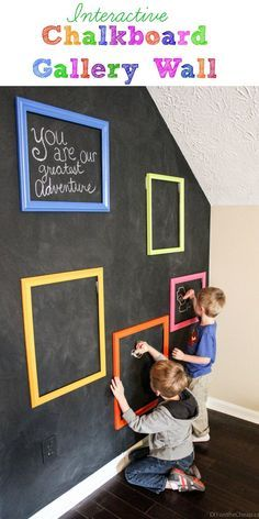 Thrift store frames  a chalkboard wall = a fun interactive art gallery where your kids can create their own masterpieces!