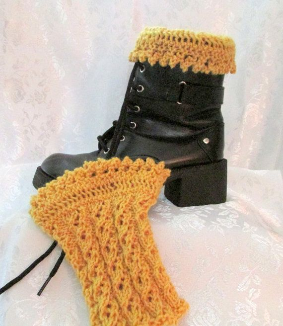 Hand knit gold boot cuffs, lace boot cuffs, Peruvian wool, women's accessory, boot décor, leg warmer, topper for boots, socks for your legs