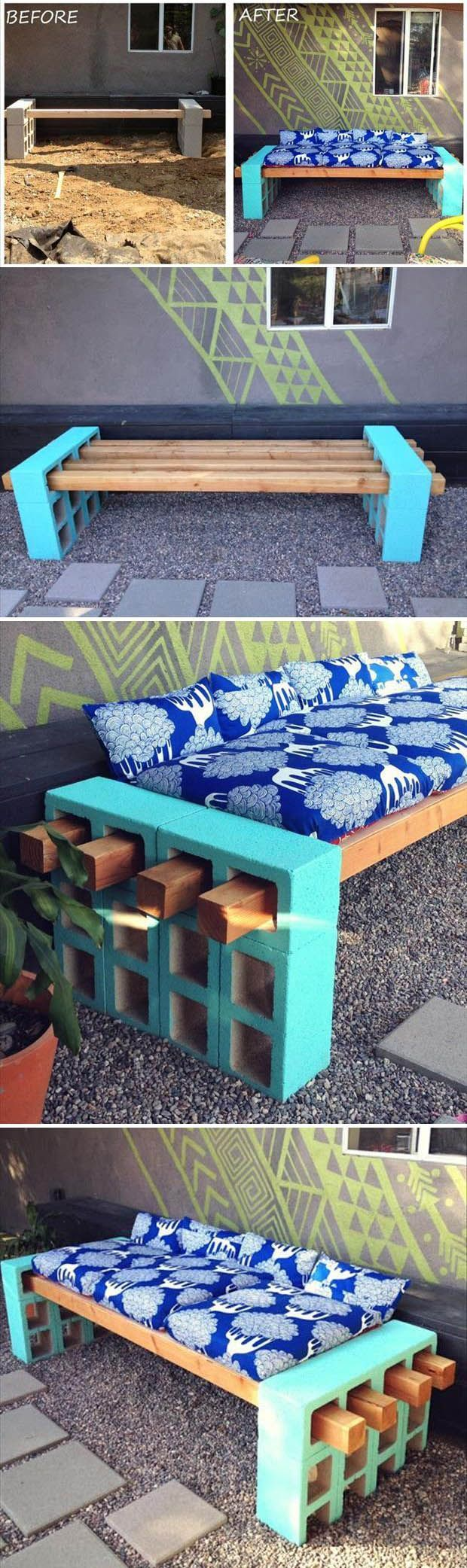 DIY Wood Cinder Block Bench Pictures, Photos, and Images for Facebook, Tumblr, Pinterest, and Twitter