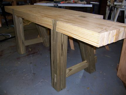 Legs Of The Bench Have Been Installed With Through Mortise