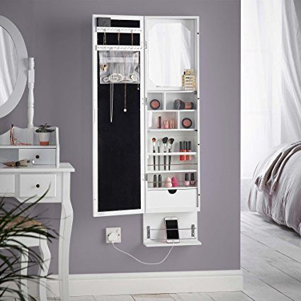 Beautify White LED Wall / Door Mounted Armoire Cabinet With Full Length Mirror, Underneath Shelf & Internal Storage with Jewellery Organiser/Hanger, Zip Pouch, Mirror, Acrylic Shelf & Drawer: Amazon.co.uk: Beauty