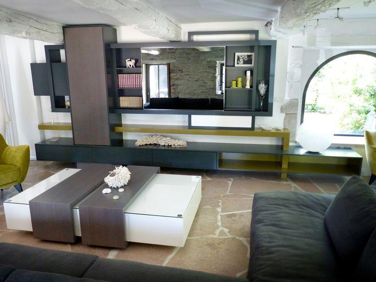 Les 25 meilleures id es concernant meuble tv modulable sur for Bibliotheque meuble contemporain