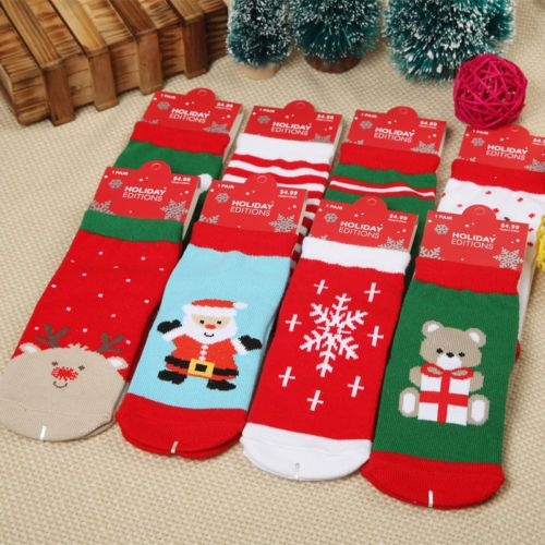 Baby Kids Toddler Christmas Socks Cotton Bear Snowflake Deer Santa ...