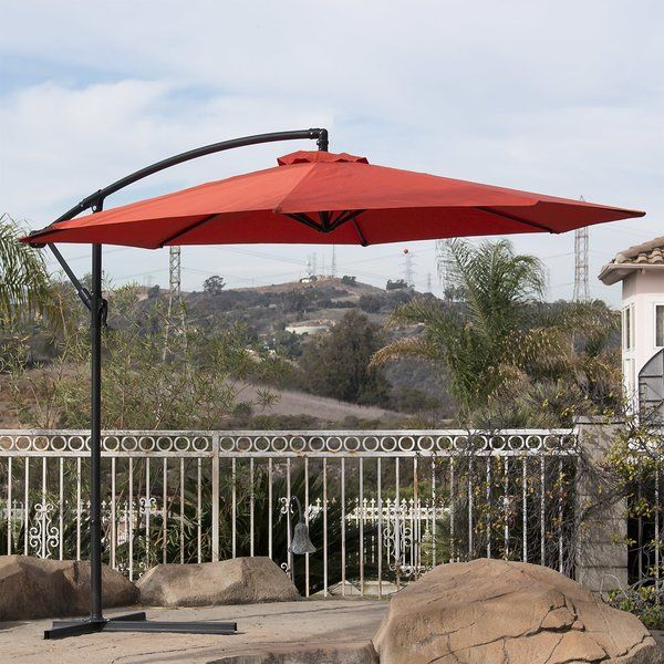 This premium offset umbrella featuring heavy-duty polyester is specially designed to keep you cool and more comfortable than a traditional umbrella. Now you can enjoy your time outdoors on a hot day while being protected from the heat and harsh sun effects. It's the perfect solution for your patio, deck, or outdoor living space.