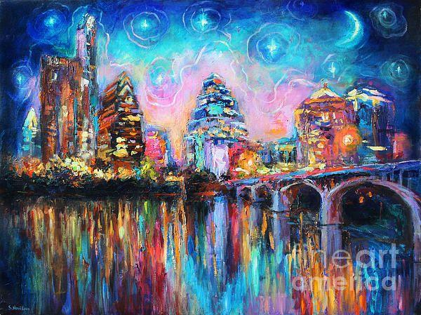 Colorful downtown Austin city night skyline art prints by Svetlana Novikova.  Prints come on gallery wrapped canvas, metal, acrylics, giclee paper, cards, framed and unframed.  Copyright Svetlana Novikova.  Prints start at $27